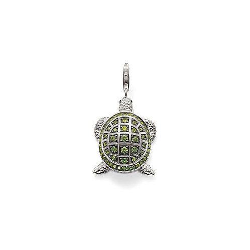 Thomas Sabo Silver Green CZ Turtle Pendant Charm - T0202-041-6
