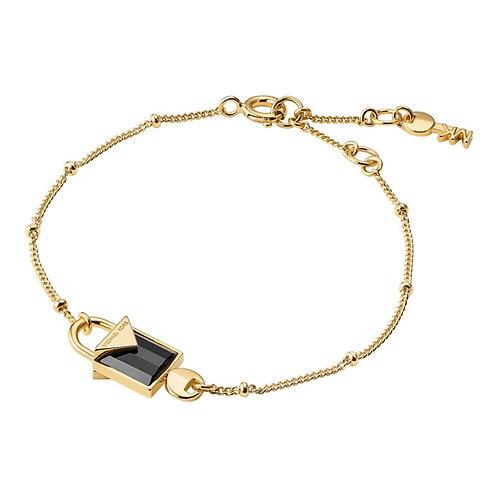 Michael Kors Colour Yellow Gold Black Onyz Padlock Pendant Charm Bracel