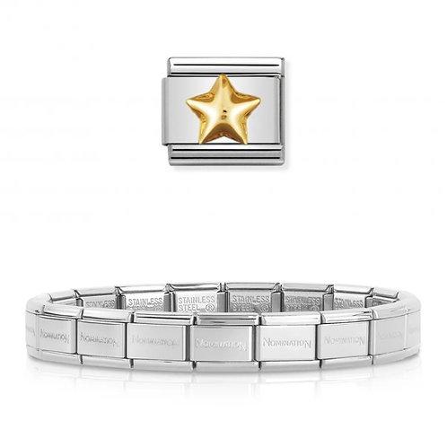 Nomination 18 Link Bracelet with a Gold Raised Star Charm Link  - 003001-3