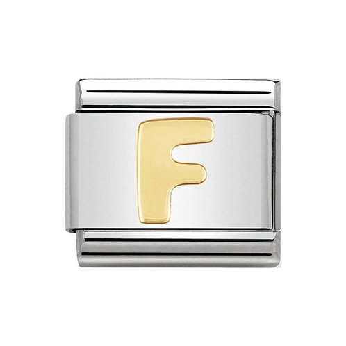 Nomination Gold Initial F Charm Link -030101/06