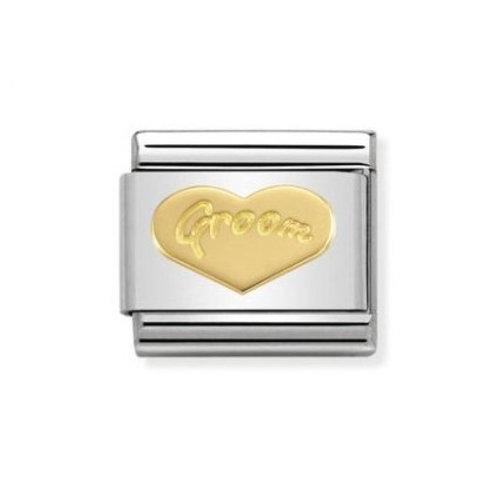 Nomination Gold Engraved Heart Groom Charm Link - 030162/34