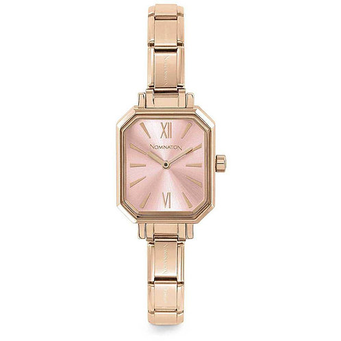 Nomination Composable Rose Gold Pink Sunray Dial Watch - 076031/014