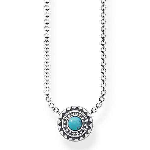 Thomas Sabo Sterling Silver Ethno Turquoise Necklace - KE1672-878-17-45v