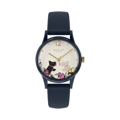 RADLEY Ladies Say it with Flowers Navy Blue Silicone Strap Watch - RY2983