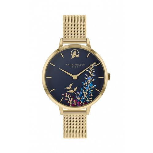 SARA MILLER - Blue Navy Wisteria Gold Mesh Strap Watch - SA4030