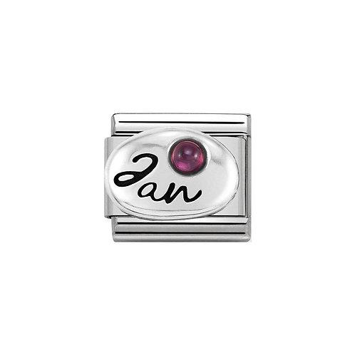 Nomination Silvershine January Birthstone Charm Link - 330505/01