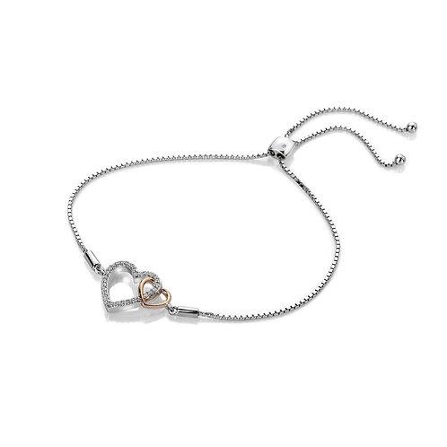 Hot Diamonds Sterling Silver Rose Gold Togetherness White Topaz Bracelet - DL590