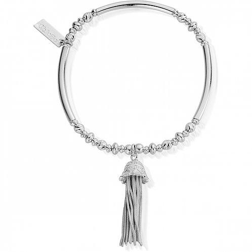 ChloBo Silver True Love Tassel Bracelet - SBNFDS598