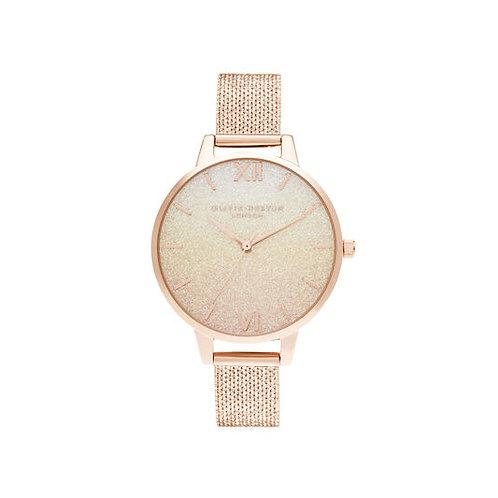 Olivia Burton Ombre Rose Gold Glitter Mesh Strap Watch - OB16US58