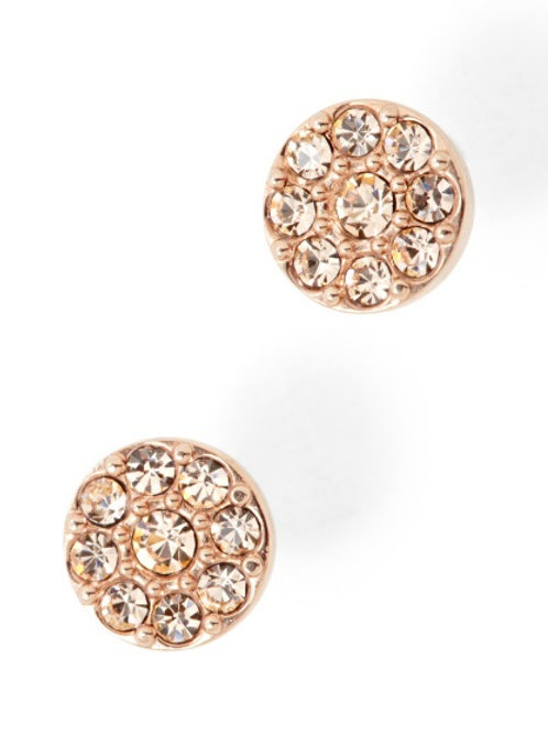 Fossil Stainless Steel Rose Gold CZ Disc Earrings