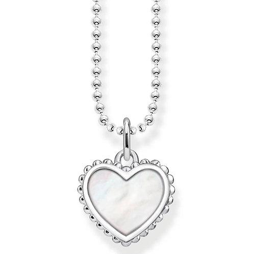 Thomas Sabo Sterling Silver Mother of Pearl Heart Necklace - KE1760-029-14-L45V