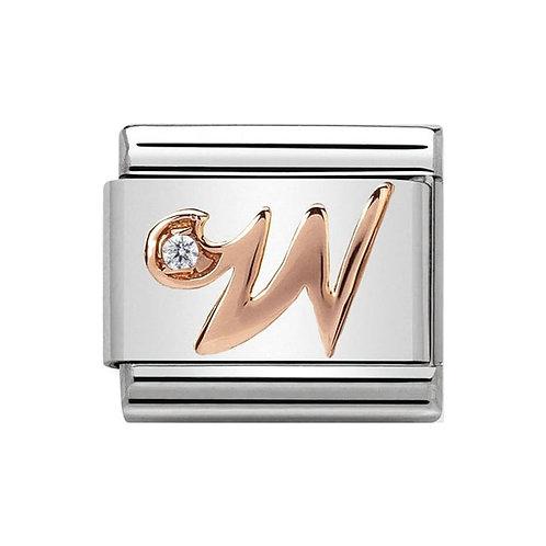 Nomination Rose Gold W Letter Charm Link  - 430310/23