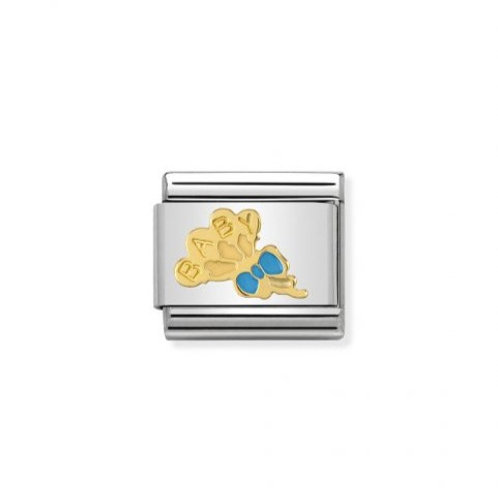 Nomination Gold Classic Blue Baby Balloons Charm Link - 030242/42