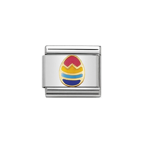 Nomination Gold Classic Multi Coloured Easter Egg Charm Link - 030242/11