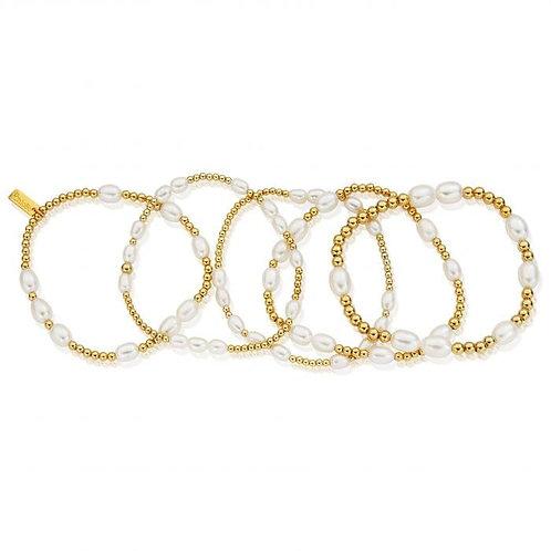 ChloBo Sterling Silver Gold Set of 5 Bracelets - GBPSTA5R
