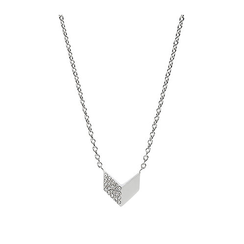 Fossil Women's Stainless Steel Vintage Glitz Arrow Necklace