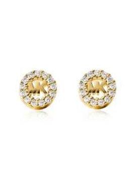 Michael Kors Sterling Silver Gold Custom Logo Earrings