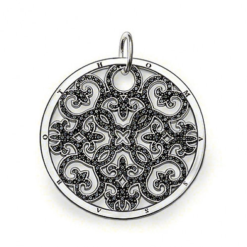 Thomas Sabo Large Arabesque with Black Zirconia's Disc Pendant