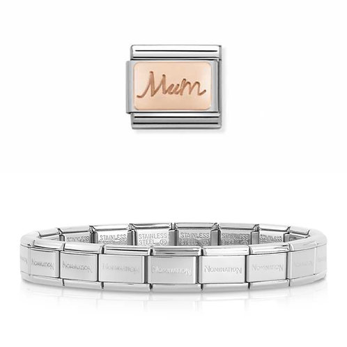 Nomination 18 Link Bracelet with a Rose Gold Mum Charm Link  - 003001-2