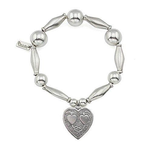 ChloBo Silver Iconic Chunky Textured Heart Bracelet - SBCHU034