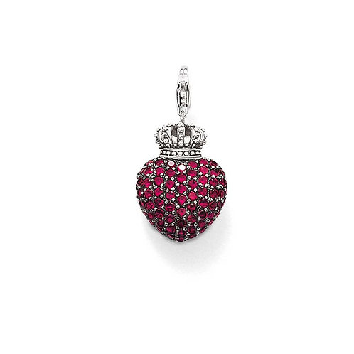 Thomas Sabo Silver Red CZ Crown Charm - T0035-12-10
