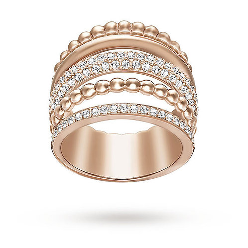 SWAROVSKI Click Rose Gold Tone Ring Clear Crystal