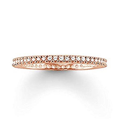 Thomas Sabo Silver Thin CZ Eternity Rose Gold Ring - TR1980-416-14
