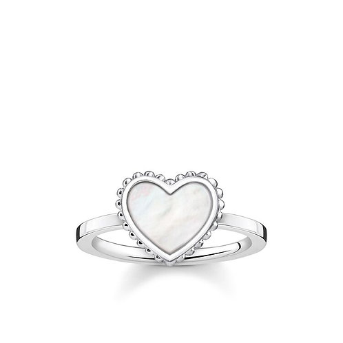 Thomas Sabo Sterling Silver Mother of Pearl Heart Ring - TR2187-029-14-54