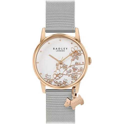RADLEY Ladies Stainless Steel Rose Gold Floral Mesh Strap Watch - RY4399