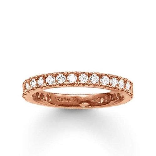 Thomas Sabo Silver CZ Eternity Rose Gold Ring - TR1981-415-14