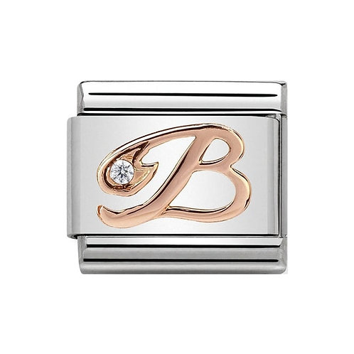 Nomination Rose Gold B Letter Charm Link  - 430310/02