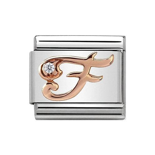 Nomination Rose Gold F Letter Charm Link  - 430310/06