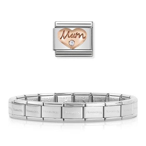 Nomination 18 Link Bracelet with Rose Gold Mum Charm Link  - 003001-1