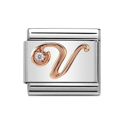 Nomination Rose Gold V Letter Charm Link  - 430310/22