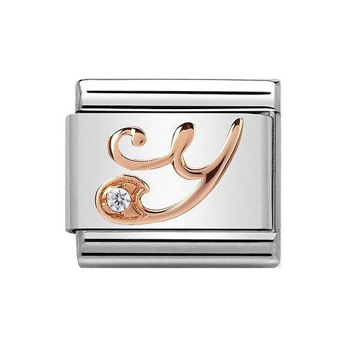 Nomination Rose Gold Y Letter Charm Link  - 430310/25