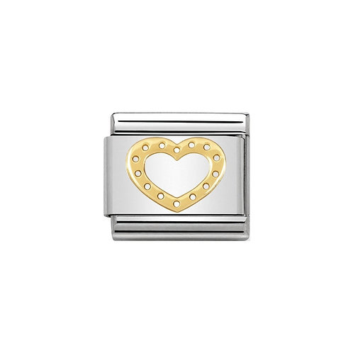 Nomination Gold Dotty Heart Charm Link - 030107/22
