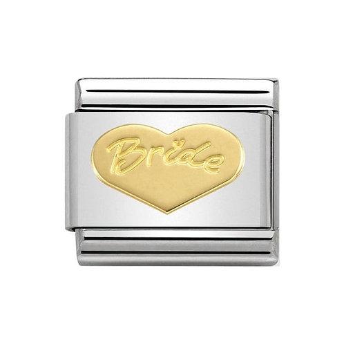 Nomination Gold Engraved Heart Bride Charm Link - 030162/33