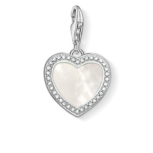 Thomas Sabo Clear CZ and Mother of Pearl Silver Heart Charm - 1472-030-14