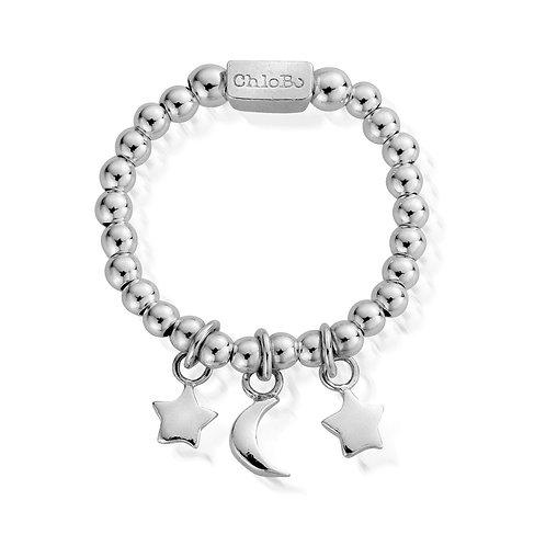 ChloBo Silver Mini Triple Night Sky Star Ring - Size Medium SR2784