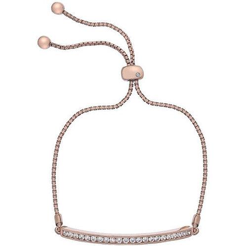Hot Diamonds Sterling Silver Rose Gold Festival Bar Bracelet