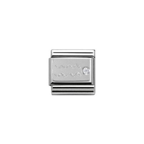 Nomination Silvershine Starsign/Zodiac Aquarius CZ Charm Link - 330302/11