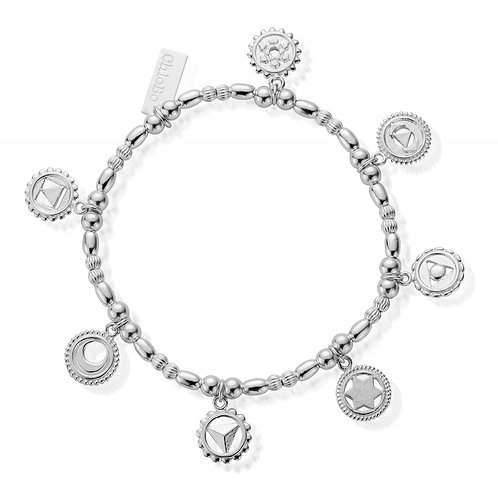 ChloBo Silver Positive Vibes 7 Chakra Bracelet - SBMULCC