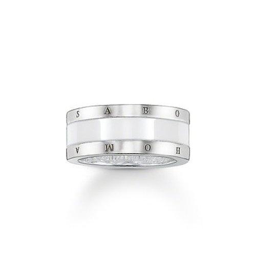 Thomas Sabo Silver and White Ceramic Band Ring - TR199488-454-14-54
