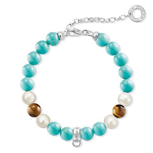 Thomas Sabo Charm Club Turquoise Bead Bracelet - X0224-951-17-L18.5v