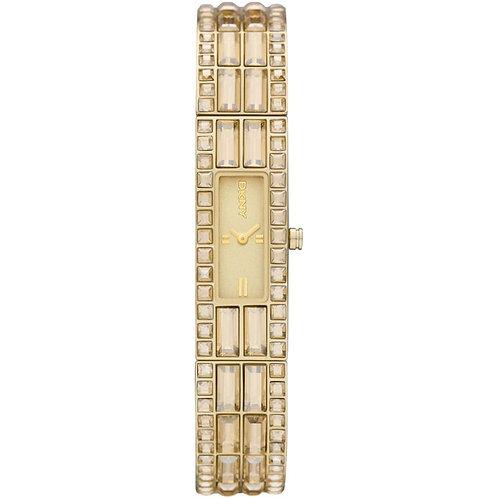 DKNY Ladies Gold Tone Glitz Oblong Watch - NY8630