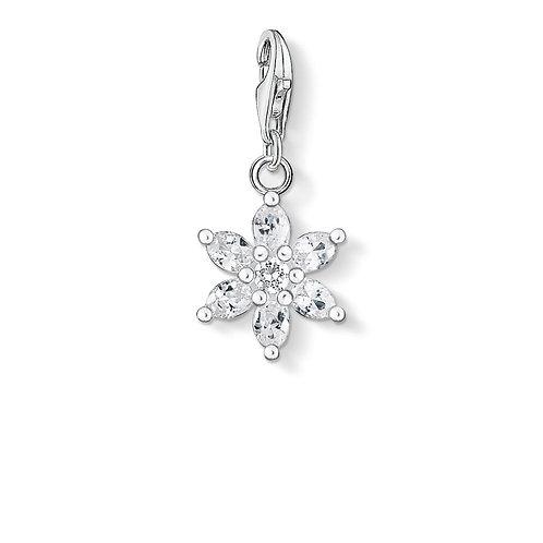 Thomas Sabo Silver Clear CZ Flower Charm - 0380-051-14