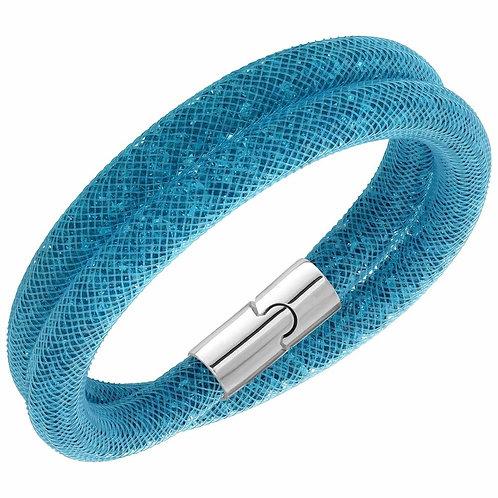SWAROVSKI Teal Blue Double Stardust Bracelet - 5139744 SMALL