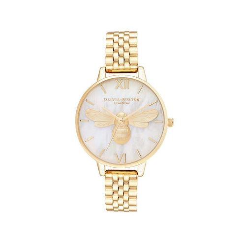 Olivia Burton Mother of Pearl Demi Dial Gold Bracelet Watch - OB16FB18