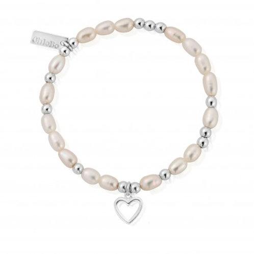 ChloBo Pearl Open Heart Mini Bracelet