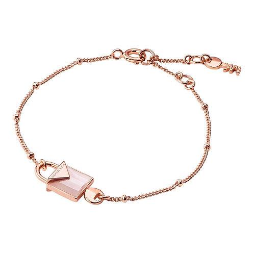 Michael Kors Colour Rose Gold Pink Quartz Padlock Pendant Charm Bracelet